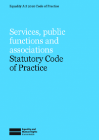 This is the cover of Services, public functions and associations statutory code of practice publication