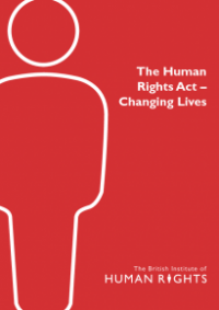 This is the cover for The human rights act - changing lives publication
