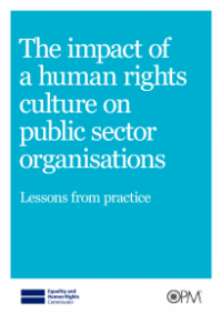 This is the cover of the impact of a human rights culture on public sector organisations