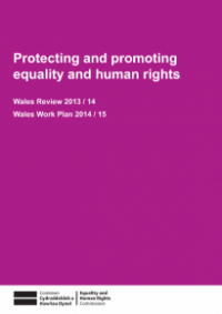 This is the cover of Protecting and promoting equality and human rights - Wales review 2113/14 and workplan 2014/15