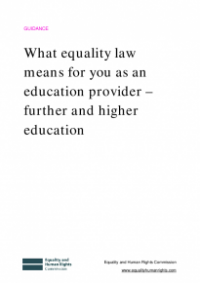 This is the cover of What equality law means for you as an education provider - further and higher education