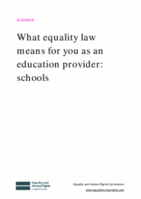 This is the cover for What equality law means for you as an education provider: schools