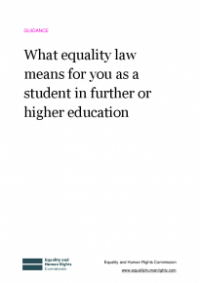 This is the cover of what eqaulity law means for you as a student in further and higher education publication