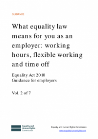 This is the cover for What equality law means for you as an employer: working hours, flexible working and time off publication