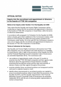 This is the Inquiry into the recruitment and appointment of directors to boards of FSTE 350 companies Official Notice