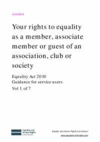 This is the cover for Your rights to equality as a menber, assoiciate member or guest of an association, club or society