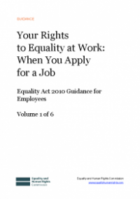 This is the cover of Your rights to equality at work: when you apply for a job