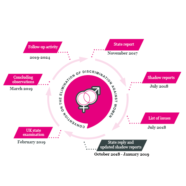 An infographic showing the various stages of the CEDAW treaty cycle